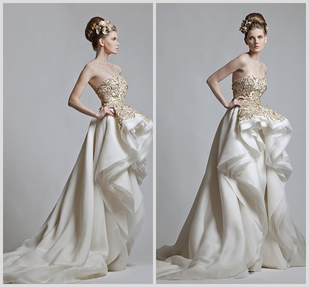 New Charming 2014 New Design Wedding Gown Golden Exquisite ...