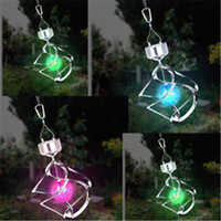 Wholesale Hanging Chimes - Wind Twirling Solar Lanterns Colorful LED Solar Wind Chime Light Solar Hanging Lights RGB Color Changing Mosaic Crack Ball Spiral Spinner