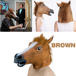 Wholesale Face Mask Chocolate - Hot Selling Creepy Horse Mask Head Halloween   Christmas Costume Theater Prop Novelty Latex Rubber Creepy Mask