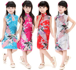 Wholesale Wholesale Cheongsam Red - Retail-Hot Chinese Kid Child Girl Baby Peacock Cheongsam Dress Qipao 1-8 YS Clothes