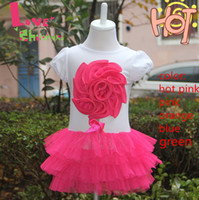 Wholesale Wholesale Retail Flower Dress - Retail-New 1pcs Free shipping baby girl flower one-piece dress Kids Summer short-sleeve layered dress Children clothes Clothing AQZ040