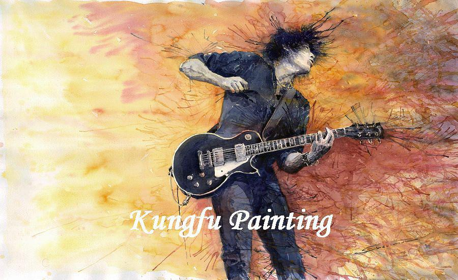 2018 Bod349 100% Hand Painted Music Oil Painting Man Playing Guitar ...