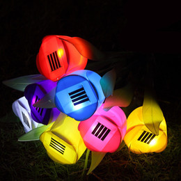 Wholesale Outdoor Lighting Flower - LED Tulip Solar Light Tulip Lamps Outdoor Solar Lamps Yard Garden Path Way Solar Power LED Tulip Light Landscape Flower Sun Lamp Lights