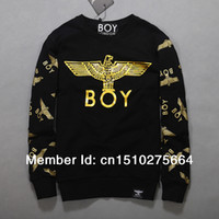 Wholesale White Boy London Sweatshirt - Wholesale-Plus Size S-XL 2014 London Boy Black White Gold-Foil Punk Eagle Pattern Pullover Sweatshirt Lovers Hoodies Free Shipping