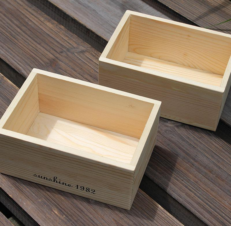 2019 Natural Wood Color Solid Wooden Box Zakka Small Size