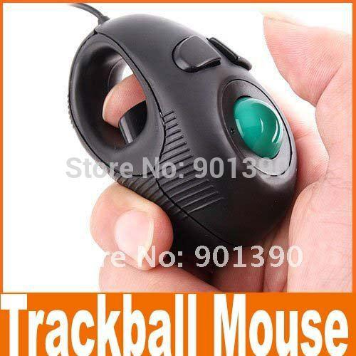 top popular Wholesale-Free shipping 2014 New Portable Black Wired Finger Hand Held 4D Usb Mini Trackball Mouse mice 2019