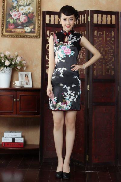 Xangai história nova chegada de moda Qipao vestido de seda cheongsam vestido sem mangas chinês Qipao 5 cor J5145