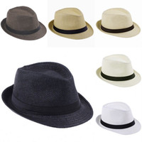 Fashion Unisex Trilby Gangster Straw Hat Summer Beach Hats P...