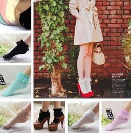 Calcetines con volantes de las señoras online-5 colores de encaje de la vendimia de la colmena frilly tobillo calcetines mujeres moda para mujer princesa regalo de la muchacha