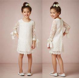 Wholesale Girls Skirts Sale - Cheap for sale 2014 Bhldn Custom Made Long Sleeve Ruffled Skirt Ivory Lace Jewel Knee-Length Tiers Pleated Lovely Flower Girls' Dresses