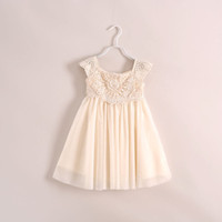 Wholesale Girls Crochet Tutus - New arriavl noble Princess dress summer children lace Crochet tulle tutu dress girls beige party dress brand children clothing 3-10T 3463