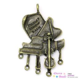 Wholesale violin antique - Connectors Findings Piano & Violin Antique Bronze Message Carved 5.6x3.5cm,5PCs (B27310)