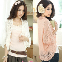 Wholesale Loose Batwing Sweaters For Women - 2014 summer cutout chiffon lace crochet batwing sleeve waistcoat cardigan loose sweater female thin cardigan for women F4238