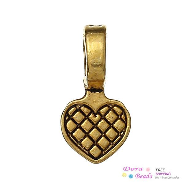 Glue on Bail Tags Heart Gold Tone Grid Pattern Carved 16mm x 8mm,200PCs (B34406)