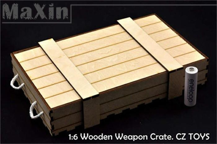 Cz Toys Wooden Weapon Crate Ammunition Box For 1 6 Wwii Rifle Weapon Toy Model Soldier Set