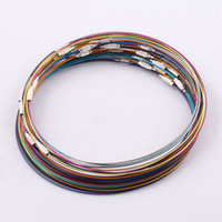 """Wholesale Memory Wire Stainless - HOT SALE! 50PCS 18"""" Multicolor Cable Steel Chain Stainless Memory Wire Cord Necklace Choker Jewelry Findings DROPSHIPPING"""