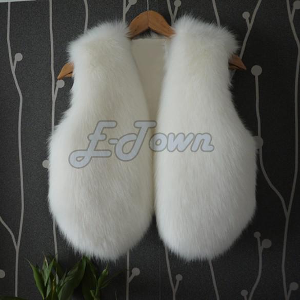 2014 nuova imitazione pelliccia di coniglio cappotto di alta qualità faux pelliccia di volpe donna di colore solido moda gilet bianco / nero # 7 SV005860