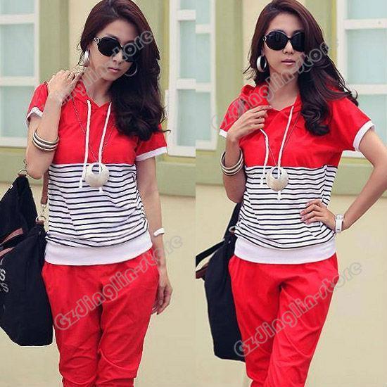 2017 Fashion Women Hoodie Short Sleeve Casual Summer Stripe Print ...