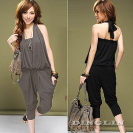 $enCountryForm.capitalKeyWord Australia - New Fashion Women Jumpsuit Halter Backless Summer Casual Harem Pants Romper Playsuit Overall Black Clothing Free Shipping 0180