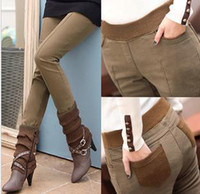 Wholesale Women S Autumn Boots - Hot Autumn Winter Womens Thick Pencil Pants Elastic Waists Skinny Pants Tights Leggings Boots Plus Pants 3 Colors