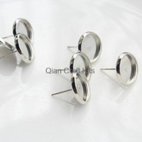 Wholesale Earring Setting 12mm Round - 200 sets Stud Earring silver tone Base fit 12mm Round glass gem or cabochon w  free stoppers
