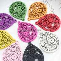 Wholesale Mixed Large Pendants - 120pcs Large mixed colors Filigree wood Wooden pendants for Earrings, statement jewelry diy 38*50mm