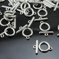 Wholesale Plastic Weight Plates - 200sets 20mm circle plain round light weight Plastic silver tone plated Toggle Clasps