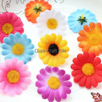 Wholesale Wholesale Gerbera Daisies For Hair - 250pcs Gerbera Daisy Heads - Artificial Silk Flower 1.5 inches 45mm Wholesale Lot for Bridal Wedding work, Make Hair clips, hats