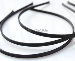 Wholesale Satin Covered Headbands - 50pcs 5mm Satin Ribbon double sided full Covered Metal(Steel) Headbands black