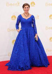 Wholesale Emmy Celebrity Dresses - 2014 66th Emmy Awards Celebrity Dresses Royal Blue Lace V Neck Illusion Long Sleeve Evening Gowns Mayim Bialik Prom Dresses