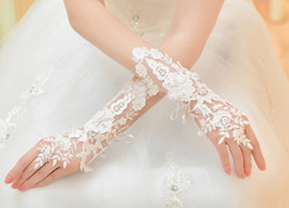 Gants Faits De Perles Pas Cher-Belle qualité supérieure Raffiné Car Bone Flowers Dentelle faite à la main Bead Piece Robe de mariage coréenne Mariage Fingerless Gloves
