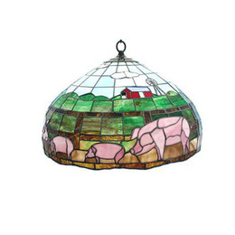 Wholesale Stained Glass Pendant Lamps - Free shipping Style Stained Glass Pig Hanging Lamp Light Ceiling Fixture Chandelier LJP27