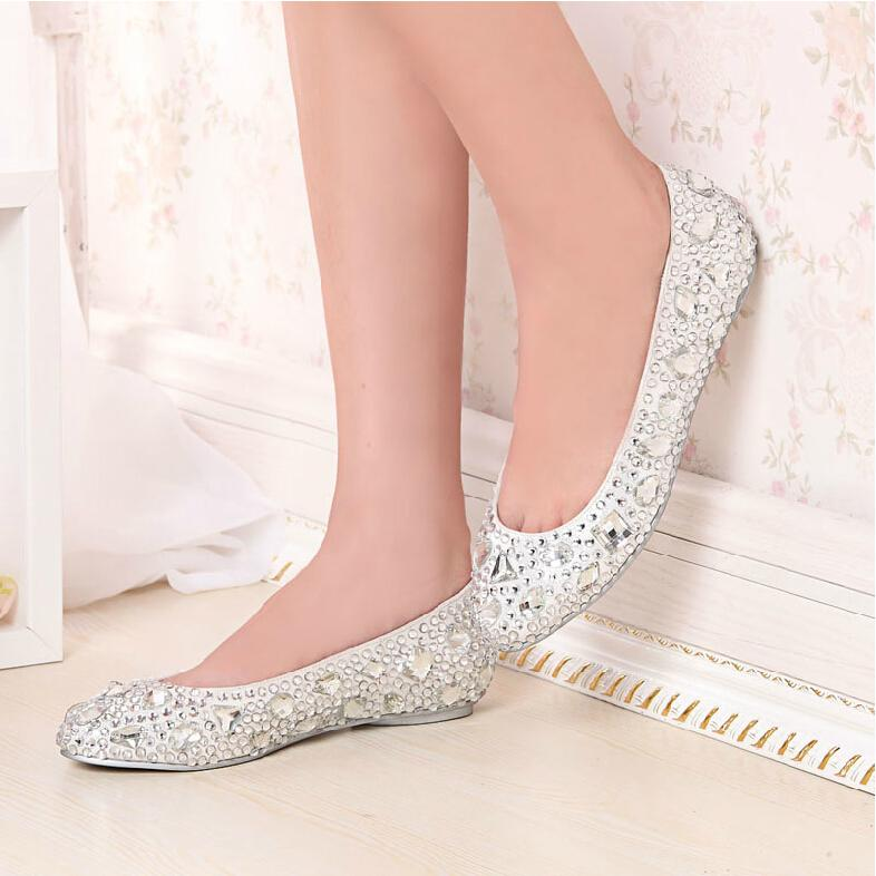 2015 New Fashion Silver Slipper Wedding Shoes For Women Handmade Rhinestone  Crystal Flat Bridal Shoes Girl Party Dress Shoes Expensive Wedding Shoes  Extra ...