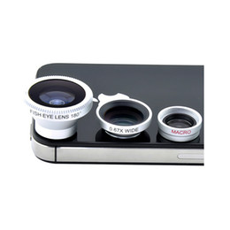 Wholesale Tablet Fisheye Lens - Wholesale- Silver Universal Fisheye Lens+Wide Angle+Macro lens 3in1 Magnetic Photo Lens Kit Set for Iphone Sumsang HTC IPAD Tablet 20pcs