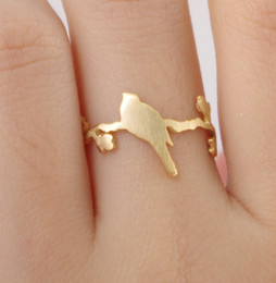 Wholesale Animal Shape Ring - 10pcs lot Fashion accessories gold silver rose gold ring, cute bird animal shape ring,gift jewelry,tiny ring, JZ099