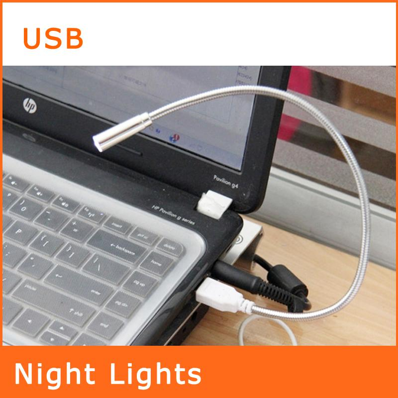 PC portátil portátil del cuaderno de iluminación LED Serpentina Tubos Nightlights 360 ° de rotación teclado USB LED lámpara de luz flexible NL055