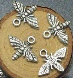 Wholesale tibetan bee - 200pcs lot Tibetan Silver Bee Charms Pendants For Bracelet Jewelry Making 17x13mm