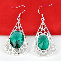 Wholesale Prasiolite Jewelry - 2015 Time-limited Hot Sale Cuff 2pcs 1lot Christmas Jewelry Gift--lucky Stone Oval Green Amethyst Prasiolite 925 Silver Drop Earrings E0146