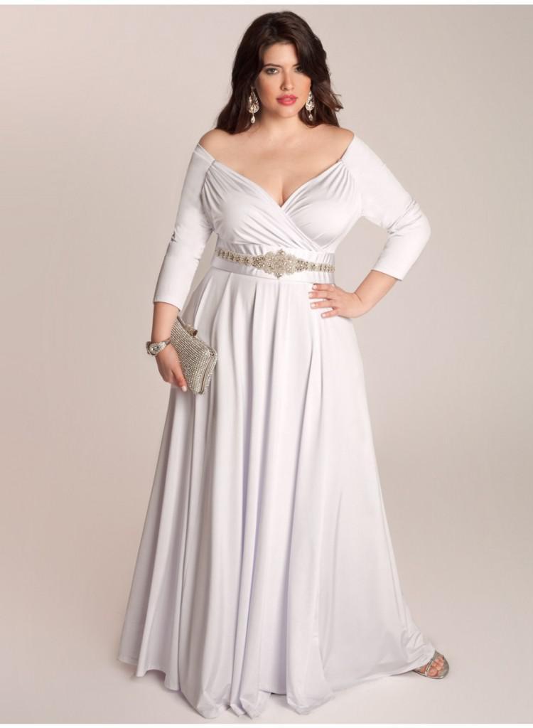 Discount 2014 plus size wedding dress a line v neck sexy for Plus size flowy wedding dresses