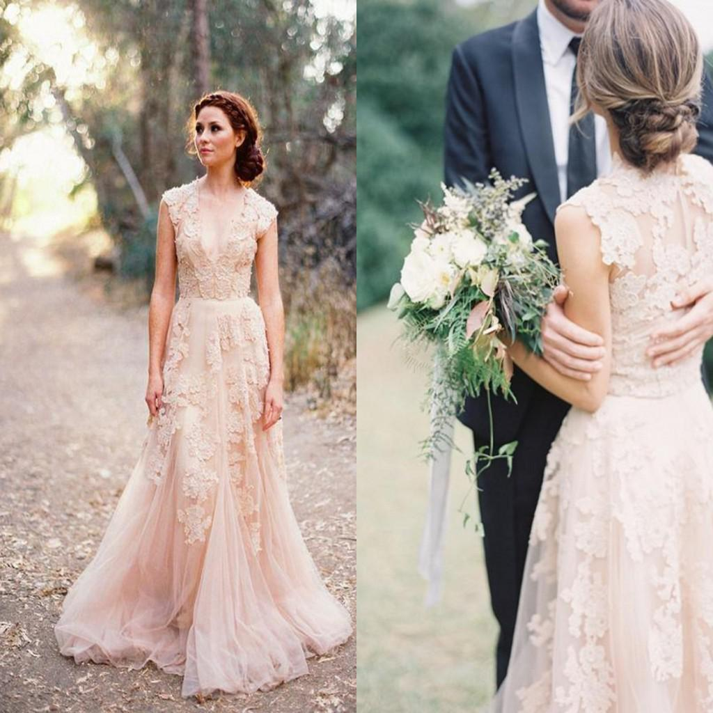 2014 Fashion Sheer V-Neck Lace Applique Blush Tulle Sweep Train A-line Lace Wedding Dresses Reem Acra Puffy Vintage Garden Bridal Gown Fit