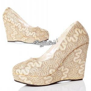 Wholesale New Arrival Bridal Pump Lace Wedding Shoes Champagne Prom Shoes With High Heel Ankle Boot Cut Outs Lace Wedge Evening Shoes Bridal Shoes