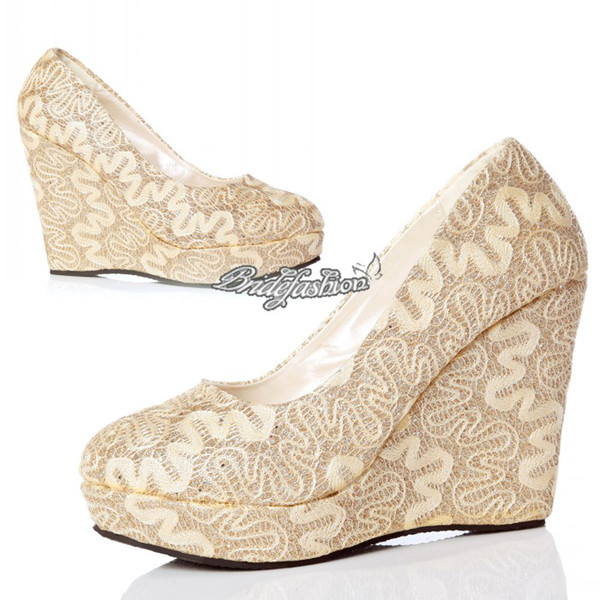 New Arrival Bridal Pump Lace Wedding Shoes Champagne Prom Shoes With High Heel Ankle Boot Cut-Outs Lace Wedge Evening Shoes Bridal Shoes