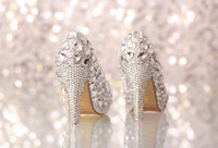 Wholesale Silver Beaded Heels - PPaillette Women's Wedding Stiletto Heel Heels Pumps Heels With Rhinestone Shoes