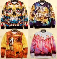 Wholesale Dog Swan - Wholesale-3D mens realistic Horror Skull Kito meditation dog Swan sweaters AND pullovers sport suit hoody tracksuits sweatshirt hoodies