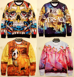 Wholesale Dog Swan - Wholesale-3D mens realistic Horror Skull Kito meditation dog Swan sweaters AND pullovers sport suit hoody tracksuits sweatshirt hoodies