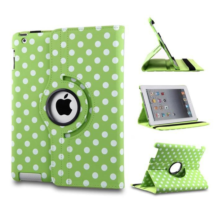 Polka Dot 360 Degree Rotating Magnetic Flip PU Leather Stand Case Smart Cover For Apple iPad 2 3 4 5 6 Air Air2 Pro 9.7 Mini Mini3 Mini4