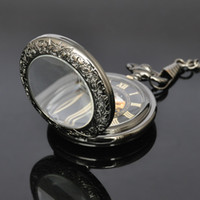 Magnifier Glass Front Case Mecânico Pocket Watch Hand Winding Black Mens Analog Time Pocket Watch com 31cm Chain