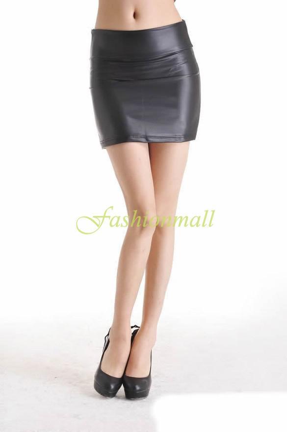 Großverkauf Celeb Stil Frauen hoch taillierte PU-Leder-wie Bodycon Kunstleder Mini Röcke Sexy Bleistift Mini Rock B16 SV006397