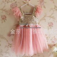 Wholesale Korean Girls Gown - Korean Girl Dress Children Clothes Kids Clothing Sequin Dress Summer Dresses Princess Dress Lace Dresses Child Dress Fashion Party Dress