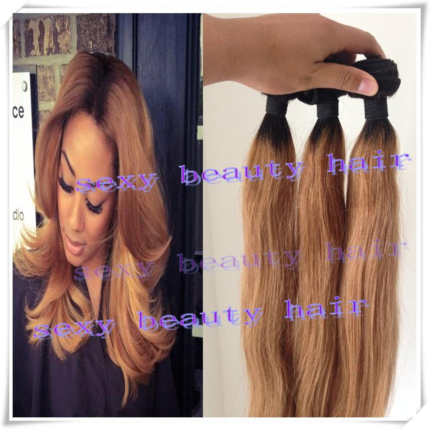 New Arrival Dark Root Color 1b27 Honey Blonde Ombre Straight Hair